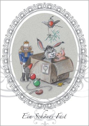 5-delige set: vrolijke kerstkaart - ezel en varkentje in kerstdoos met notenkraker: Een mooi feest • Kerstmis felicitaties in set met enveloppen voor de jaarwisseling voor familie