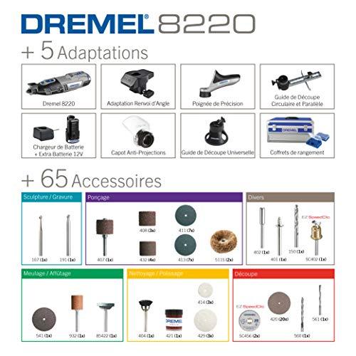Outil Rotatif Multifonction Dremel 8220 Sans-fil 12V avec 5 Adaptations 65 Accessoires, Vitesse Variable 5000-35000tr/min pour Découper, Poncer, Percer, Nettoyer, Meuler, Sculpter