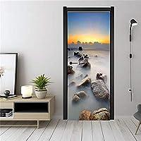 3Dドア壁画アートステッカー 海面ドアステッカー壁紙防水壁壁画デカール装飾