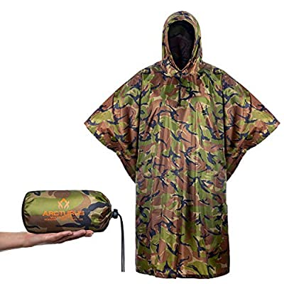 Arcturus Packable, Reusable Ripstop Rain Poncho with Hood (Camo)