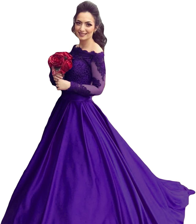 Liyuke Women's Long Sleeve Prom Evening Dresses Off Shoulder Ball Gowns Formal Dresses