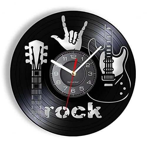 KDBWYC Guitarra eléctrica Disco de Vinilo Reloj de Pared Rock Roll Instrumento...