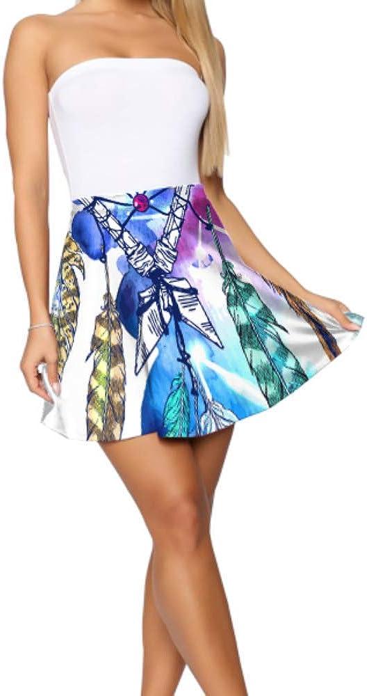 Liaosax Flare Short Skirts for Women Beautiful Sketching Mini Skirt for Women Women's Basic Casual Printed Skater Skirt S-XL