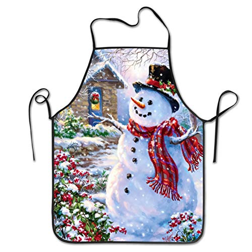 Shuwekk Xmas Christmas Apron Winter Holiday Merry Christmas Happy Snowman and Cardinals Aprons,Kitchen Cooking Grilling Apron Bib Apron with Adjustable Neck Strap,Gifts for Men Woman Family Friends