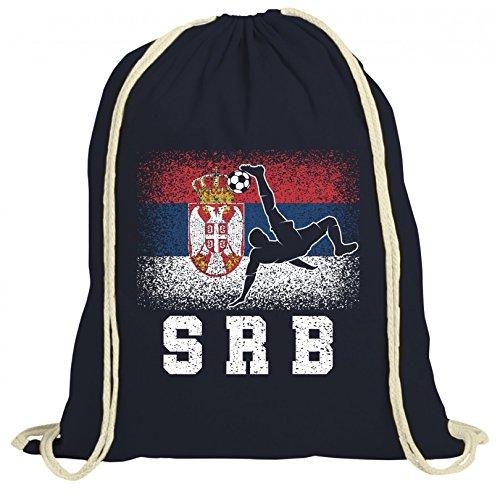 ShirtStreet Serbien Fußball WM Fanfest Gruppen Fan natur Turnbeutel Rucksack Gymsac Serbia Football Player, Größe: onesize,dunkelblau natur