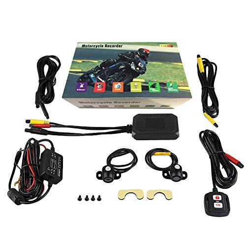 Tuneway Motorrad Ansicht Dash Cam Motorrad Kamera HD 1080P + 720P Vorder- + RüCk Ansicht DashCam DVR Fahren Recorder M1 Schwarz