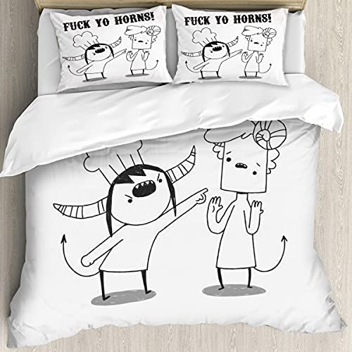 Shit Demons - Fuck Yo Horns! 3D Printing Cover Twin Bedding Set Soft and Breathable 3 Piece Bed Sheet Set 1 Quilt Cover + 2 Pillowcases (No Comforter) for Adults Kids 90104inch