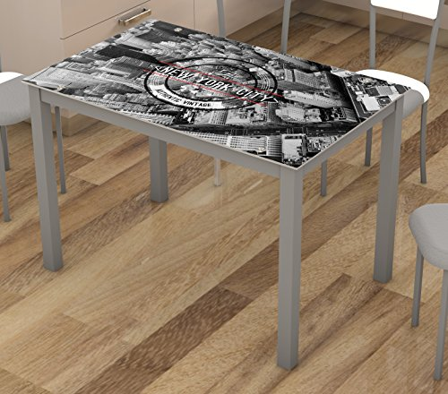 Mesa fija de cocina cristal con serigrafia de Nueva York 110x70cm