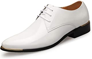 Scarpe da Uomo in Pelle Verniciata Oxford Punta a Punta con Lacci Scarpe da Lavoro Ufficio Formale Lavoro Scarpe da Sposa