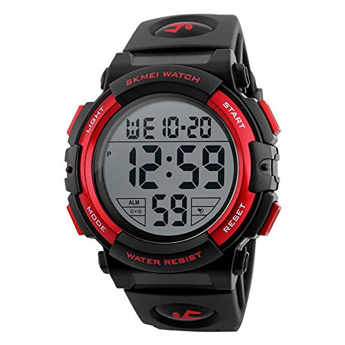 Men's Digital Sport Watch Waterproof Led Electronic Military Wrist Watch with Alarm Stopwatch Calendar Date Window (Red)