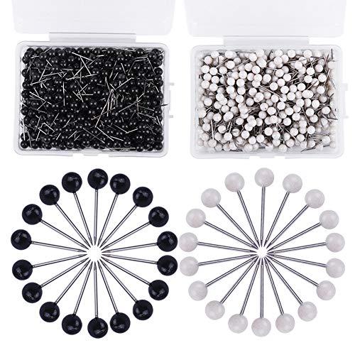 1000 Stücke Stecknadeln Set, 2 Farben Pinnadeln, Push Pins, Kopf Nadeln für Weltkarte, Pinnwand, Basteln