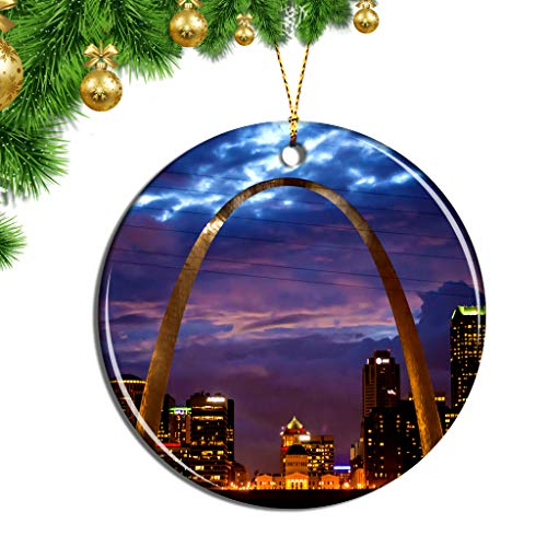 Hqiyaols Ornament USA America The Gateway Arch St. Louis Christmas Ornaments Ceramic Sheet Souvenir Travel Gift Collection Tree Door Window Ceiling Pendant Decorative
