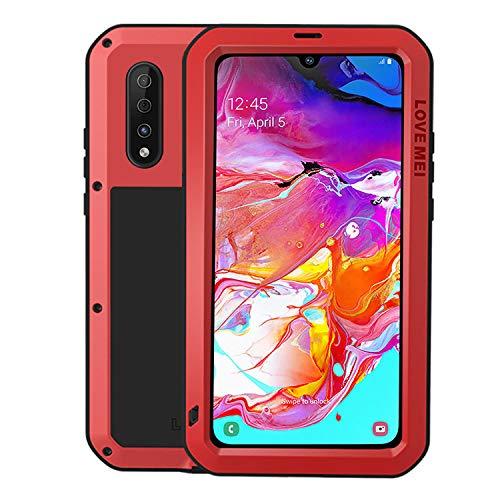 HATA Funda impermeable para Samsung A70, Samsung A70, resistente metal, antigolpes, silicona, resistente, con protector de pantalla, dureza militar, carcasa rígida para A70 (roja)