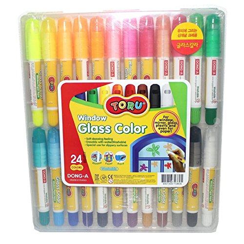 Toru Window Glass Color Crayon Marker Washable Paper Aqua Non-Toxic 24 Colors