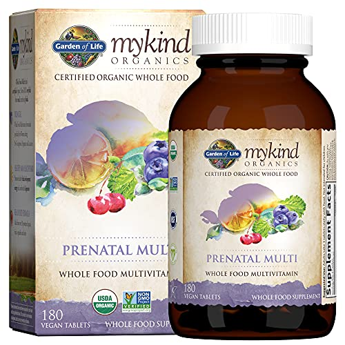 Garden of Life Mykind Organics Prenatal Vegan Whole Food Multivitamin Tablets, Folate not Folic Acid & Stomach Soothing Blend for Women, Peppermint, 180 Count