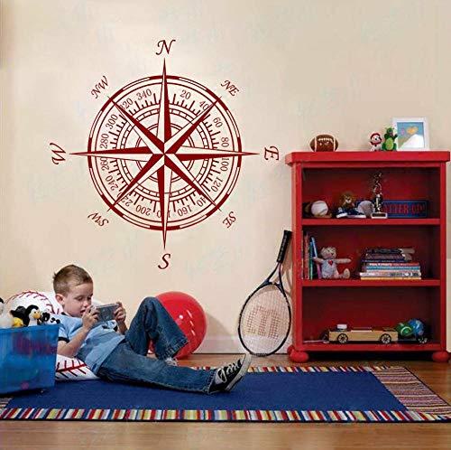 ZJfong 55x55cm diy wallpaper Brújula murales de pared personalidad brújula wallpaper decoración del hogar