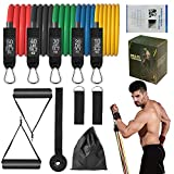 21°C Resistance Bands Set Training Tubes-Best Workout/Exercise Bands for Men & Women(Max 150lbs) Resistance Training Portable Home Gym Accessories with 5 Premium Cable Bands (Big Metal Carabiner)