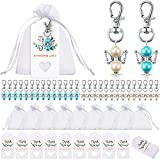90 Pieces Angel Design Keychain Favors Set Include Angel Pearl Keychains White Organza Gift Bags and Thank You Kraft Tags for Baby Shower Wedding Favors Birthday Bridal Shower Gifts