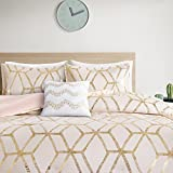 Comfort Spaces Vivian Modern Geometric Glam Metallic Print Bedding, Matching Sham, Decorative Pillow, Full/Queen, Blush/Gold
