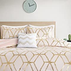 COLOR AND PRINT – Trendy comforter set with gold metallic geometric print complemented with solid blush pink reverse and matching shams PRODUCT FEATURES – Ultra soft microfiber, lightweight hypoallergenic filling for all year round use. Metallic prin...
