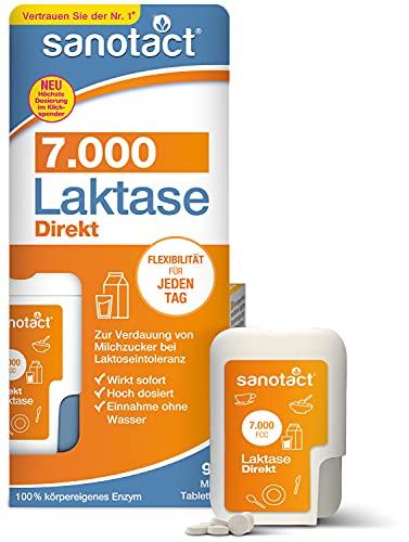 sanotact Laktase 7.000 Direkt • 90 Mini-Laktose Tabletten mit Sofortwirkung + hochdosiert • Bei Laktoseintoleranz + Milchunverträglichkeit