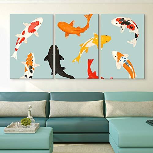 3 pinturas consecutivas Impresiones en lienzo Imágenes Arte de la pared 3 piezas Carpa Animal Pintura Decoración del hogar Minimalismo modular Póster de peces Sala de estar 40x60cmx3 (Sin marco)