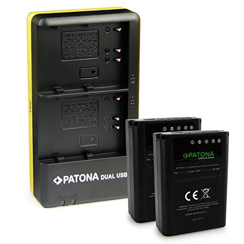 PATONA Caricabatteria doppio + 2x Premium Batteria BLN-1 compatibile con Olympus OMD E-M5 EM5 Mark II Stylus XZ-2 Pen E-P5