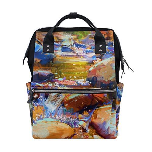 KIMDFACE バックパック 美しい滝カラフルな石秋の森デジタル 男女兼用 通学 通勤 旅行 スポーツ バッグ