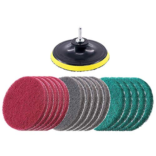 Haude 16Pcs 5Inch 3 Different Color Scrubbing Pads Drill Powered Brush Tile Scrubber Scouring Pads Cleaning Kit,Abrasive Buffing Pads Replacement 1 Pcs Hook Attachment for House Cleaning