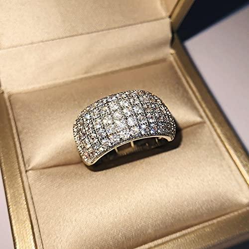 YANGYUE Hiphop/Rock Natural 1.5 Quilates Diamante de Piedras Preciosas Plata 925 Anillo de joyería para Mujeres S925 Sterling Hembras