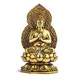YHDP Feng Shui Buda Figurilla Escultura,Latón Zen Méditation Budismo Estatua,Paz Y Auspicioso Casa Decoración-Latón 10.6inch