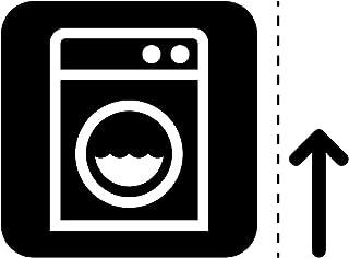 洗濯機 ランドリー 洗濯 コインランドリー 案内 シール ステッカー カッティングステッカー (矢印付き) 光沢タイプ・防水 耐水・屋外耐候3~4年【クリックポストにて発送】 (黒, 75)