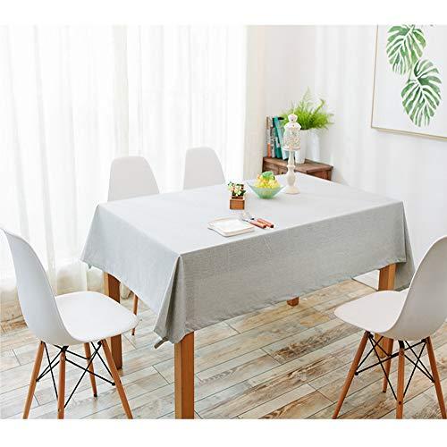 Uniguardian Chiffon Housse de table en lin Coton Look étanche Facile à nettoyer et à la poussière rectangulaire Table pliante carrée Coque Nappe fête de mariage Hôtel Housse de table, gris clair, 130cm x 130cm