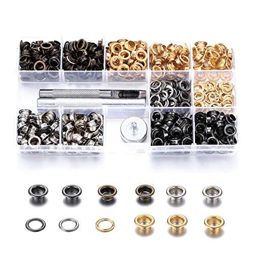 403 Juegos de herramientas para ojales , Herramienta de instalación de ojales y juego de ojales metálicos de 400 piezas de 1/4 de pulgada, Perforadora de orificios con caja portátil