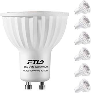 FTL GU10 LED Bulbs, Dimmable 7 Watt Spotlight,3000K Warm White,50W 75W Halogen Bulbs Equivalent,CRI>80+,Track Lighting and Recessed Lighting Bulbs,6-Pack