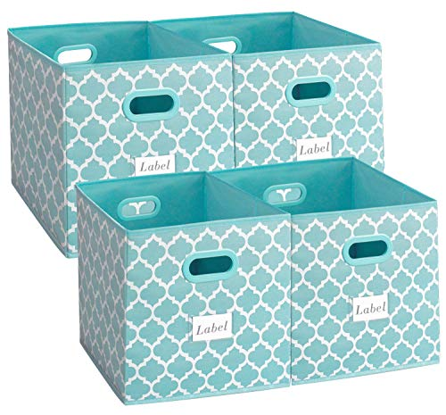 homyfort Cloth Storage Bins 13x13,Flodable Cubes Box Baskets Containers Organizer for Drawers,Home Closet, Shelf,Nursery, Cabinet, with Dual Plastic Handles, Blue with Lantern Pattern Large Set of 4