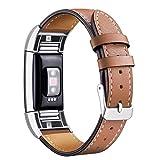 Mornex Bracelet Compatible Fitbit Charge 2 en Cuir,Bande de Remplacement Réglable Sangle Rechange...