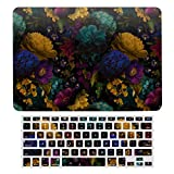 MacBook Air 13 Case A1466、A1369, Hard Shell & Keyboard Case Cover for Apple Mac Air 13, Lush Baroque Antique Flowers On Black Laptop Protective Shell Set