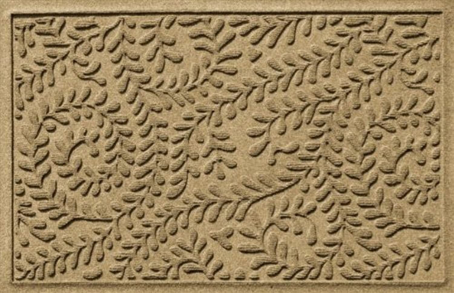 Bungalow Flooring 20378500023 Water Guard Boxwood Leaf Mat in Camel - 2 ft. x 3 ft.