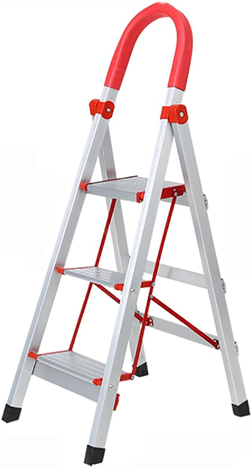 DQMSB Thicken 3 4 Step Ladder with Non-Slip Feet Aluminum Household Ladder with Armrests Folding Escalator Stairs Stainless Steel Step Stool (Size   A)