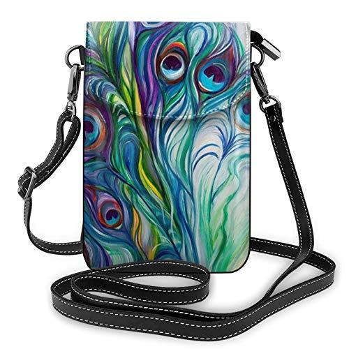 QQIAEJIA Monedero del teléfono de las plumas del pavo real, monedero del teléfono del cuero de la PU, bolso de hombro de la bolsa para la cartera del tenedor de la tarjeta de las mujeres
