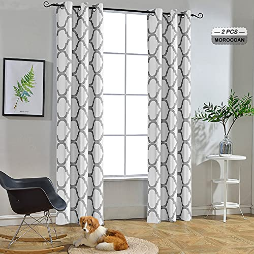 Melodieux Moroccan Fashion Thermal Insulated Room Darkening Blackout Grommet Curtains for Living Room, 42 by 84 Inch, Off White/Grey (2 Panels)