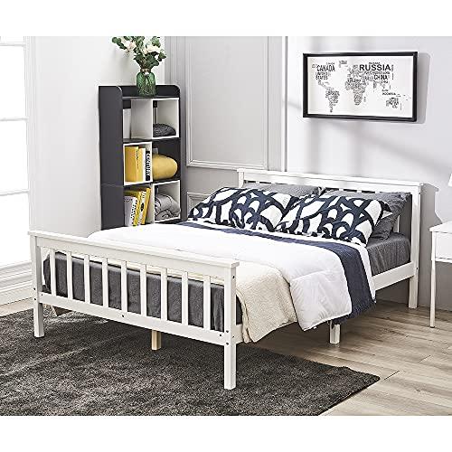 Lit Double Adult en Bois 2 Place Comfort 197,8 x 145 x 82 cm, Blanc