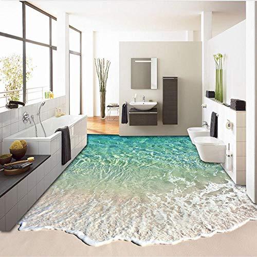 Eahujflg Linoleum Pavimento Rotolo Carta Fotografica 3D con Onde di Mare, Adesivi per Il Bagno, Adesivi per Pavimenti, Adesivi per Pavimenti Personalizzati, -250 * 175 Cm