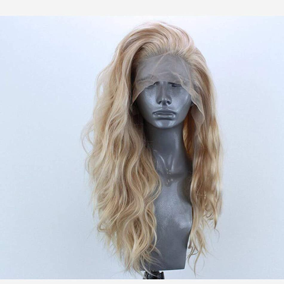 Greenmirr Blonde Wave Lace Front Wigs with Side Partition Heat-resistance Synthetic Hair 24in