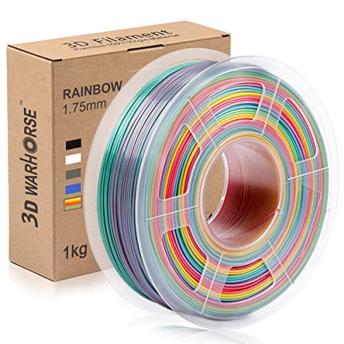 PLA Rainbow Filament, Rainbow PLA 1.75mm, PLA Multicolour Filament 1KG, PLA 3D Printer Filament Rainbow Spool, 0.02mm