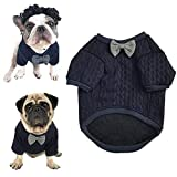 meioro Dog Sweater Pet Bow Tie Clothes Pet Clothing Jacket Dogs Clothes Cute Warm Dog Jumpers Cat Clothes Puppy French Bulldog Clothes Pug Clothe (M, Blue)