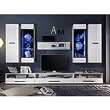 Möbel Akut Wohnwand ATTENZIONE Anbauwand weiß Hochglanz mit LED