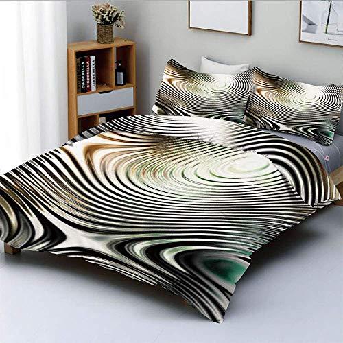 621 geometrisches modernes Muster in Zebra-Optik mit eingekreisten Details ArtworkDecorative 3-teiliges Bettwä schwarz und weiß, Kinder und E