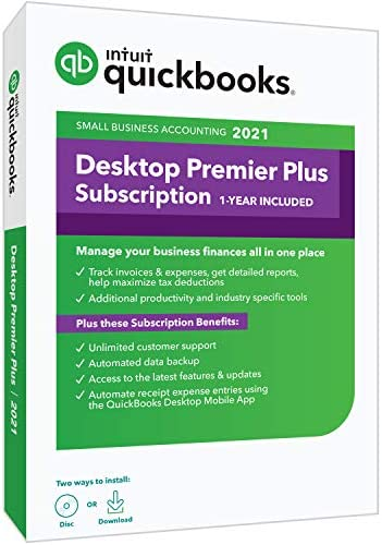 QuickBooks Desktop Premier Plus 2021 Accounting Software 1 Year Subscription with Shortcut Guide product image